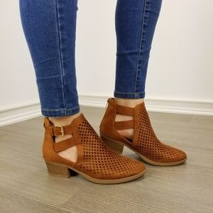 Shoes - Brown Perforated Cut Open Ankle Boots-FF
